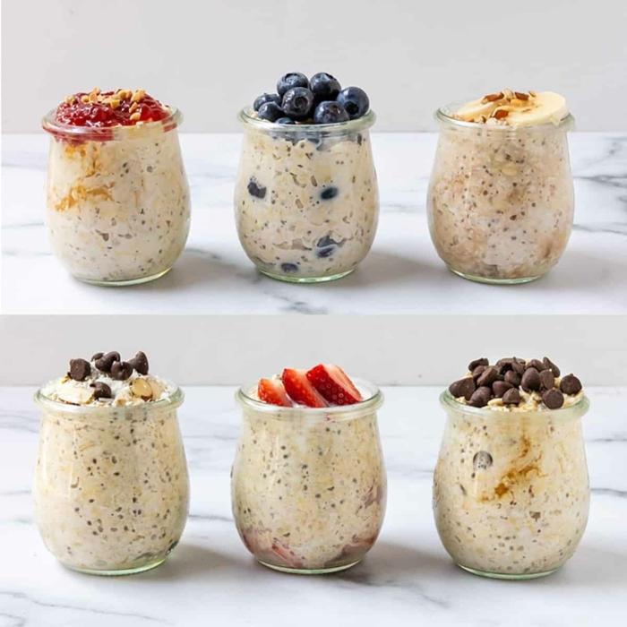 rezepte zum vorbereiten einen tag vorher gesunde overnight oats verschiedene rezepte joghurt mit chia samen beeren und haferflocken