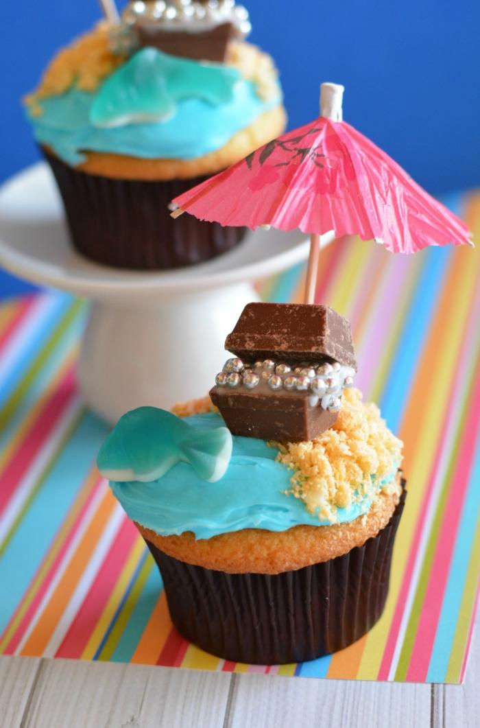 schatztruhe strand sonnenschirm cupcakes piraten geburtstagsparty muffins kindergarten rezepte