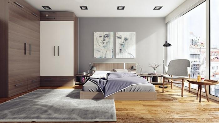 schlafzimmer streichen ideen moderne zimmereinrichtung boden aus holz graue wände helle farben wandgestaltung mit farbe