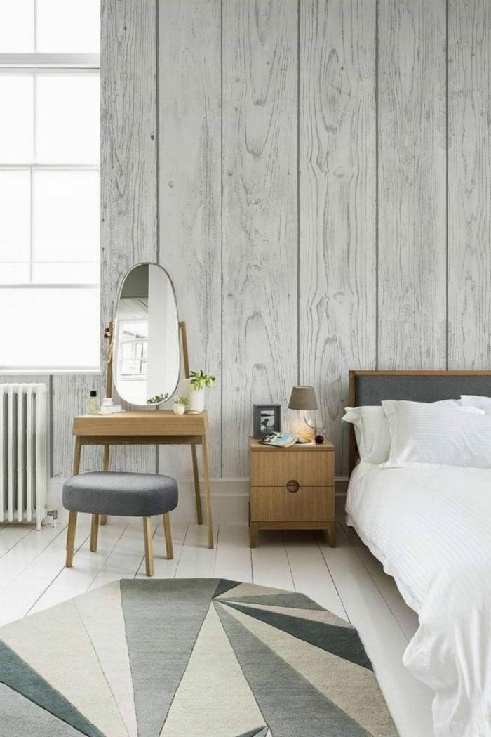 schlafzimmer streichen ideen wandgestlatung in grau holzdielen schlafzimmerdeko beispiele teppich mit geometrischem muster