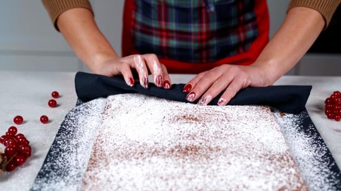 schnelle backrezepte gesunde buche de noel biskuit aufrollen puderzucker dessert ideen zu weihnachten
