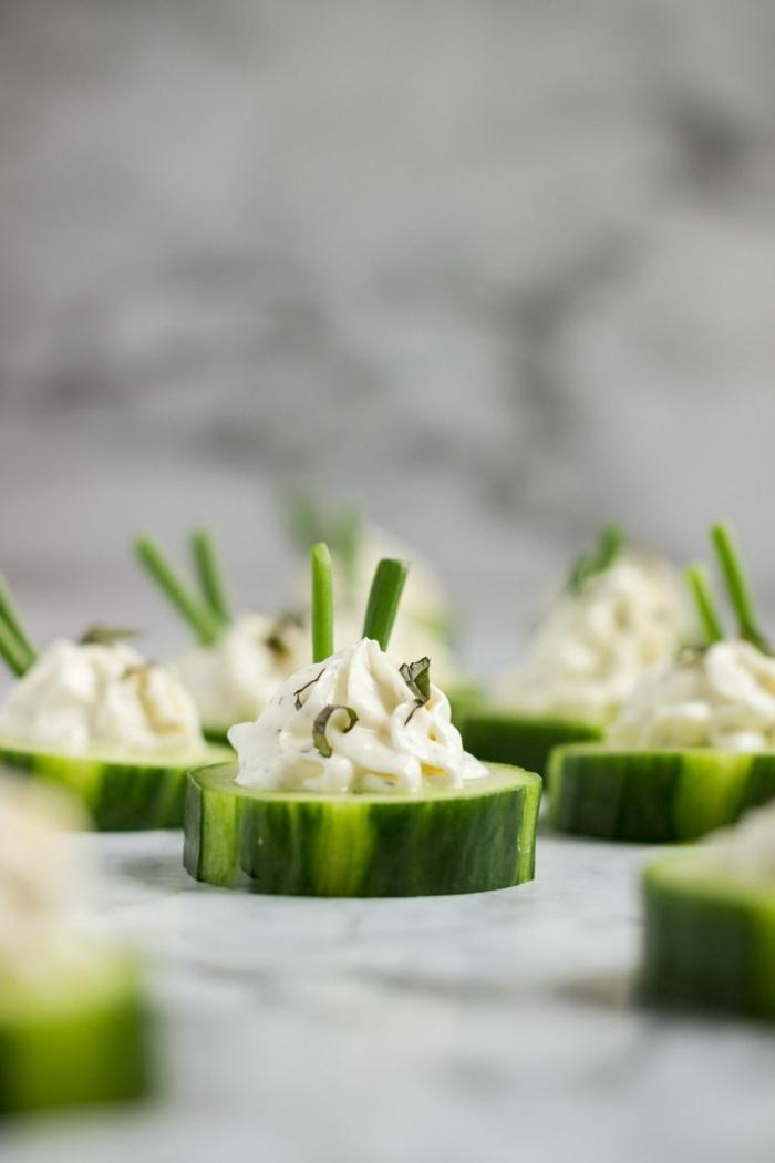 schnelle vegetarische rezepte für jeden tag gurken mit käse und kräutern partyretzepte für gäste fingerfood