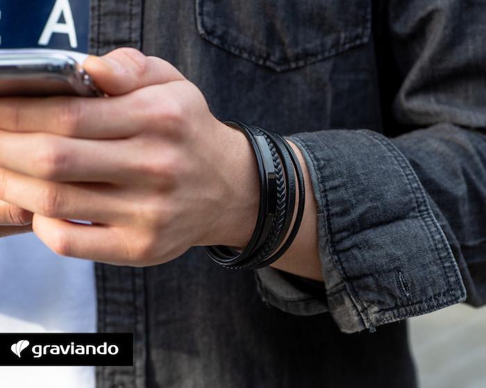 schwarzes armband mit gravur graviando armbänder selber gestalten männerarmband mit gravur
