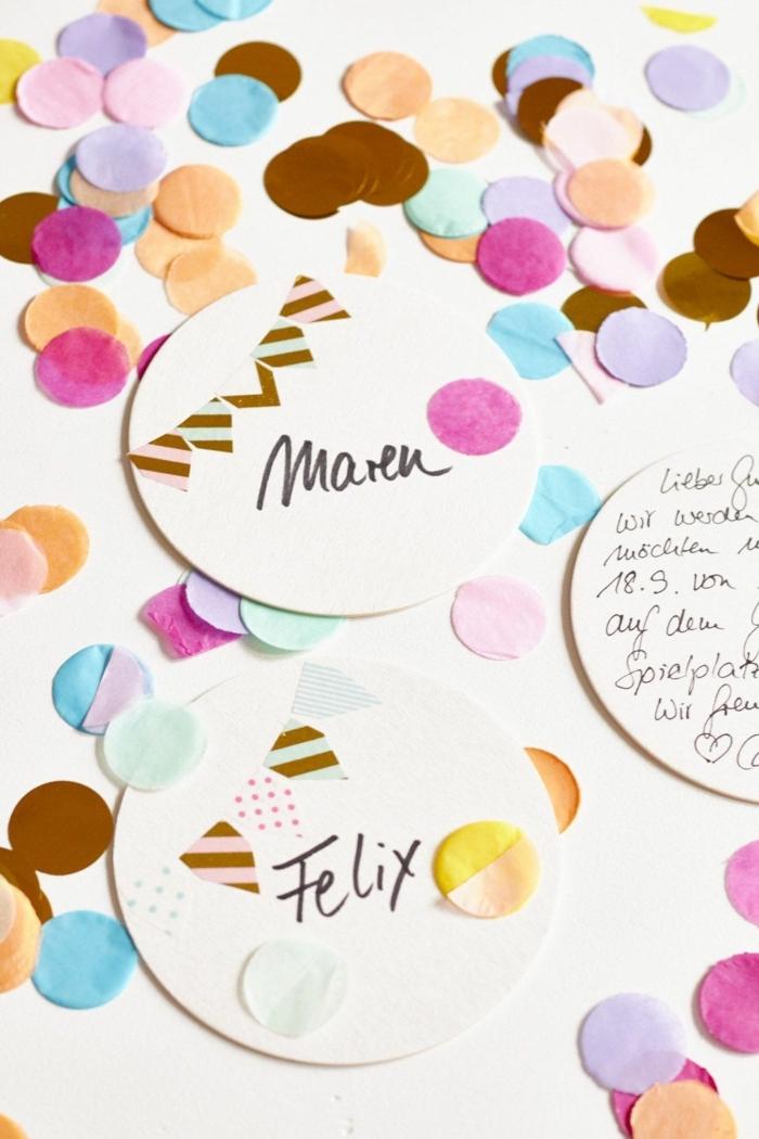 selbstgemachte geburtstagseinladung kinder basteln mit bunten konfetti einfache bastelideen