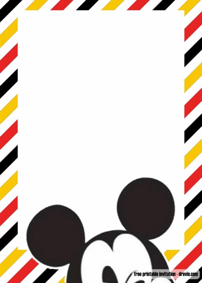 simple und kreative einladung kindergeburtstag mickey mouse geburtstagsparty kinder disney
