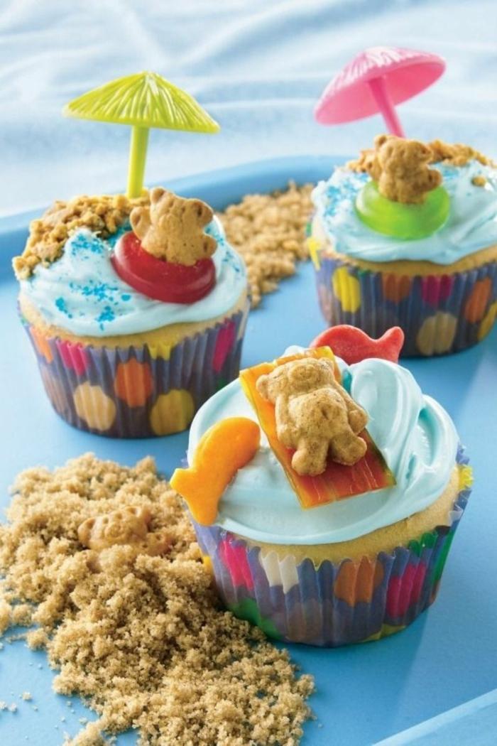 teddybär stran cupcakes originelle ideen zum backen muffins verzieren lustige muffins für kindergeburtstag backen