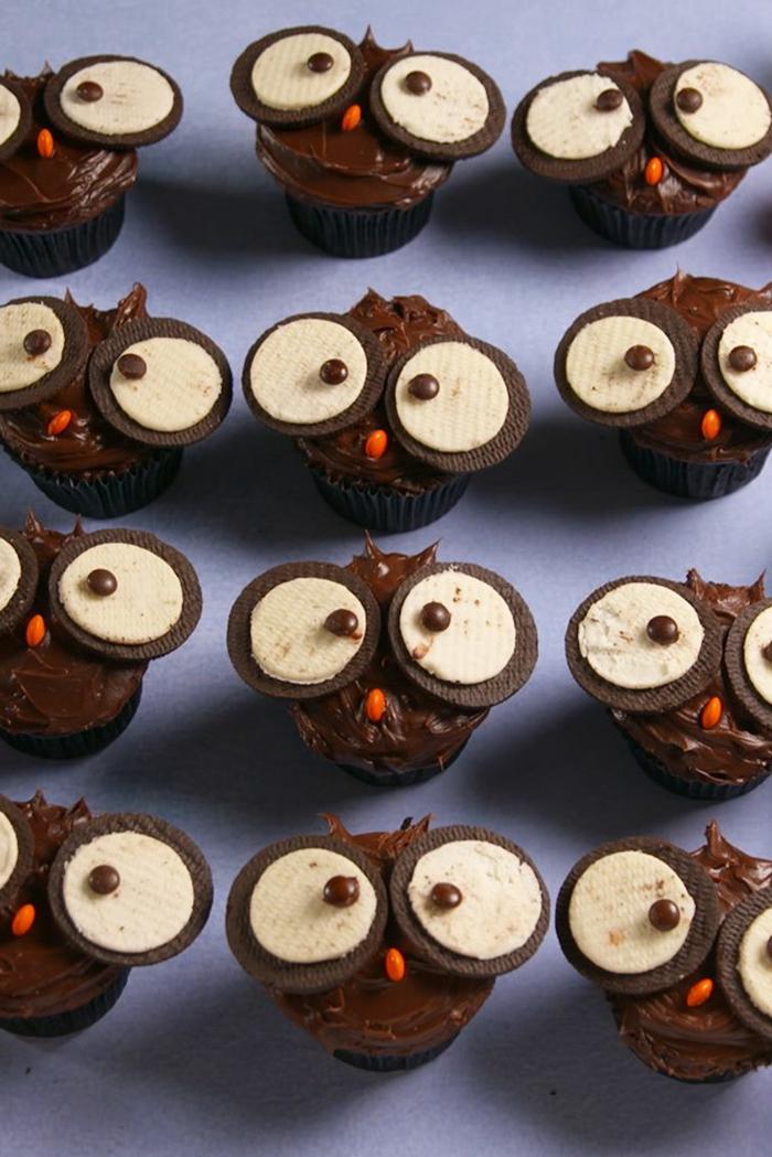tiere eulen cupcakes muffins kindergarten für kindergeburtstag party desserts backen leckere rezepte