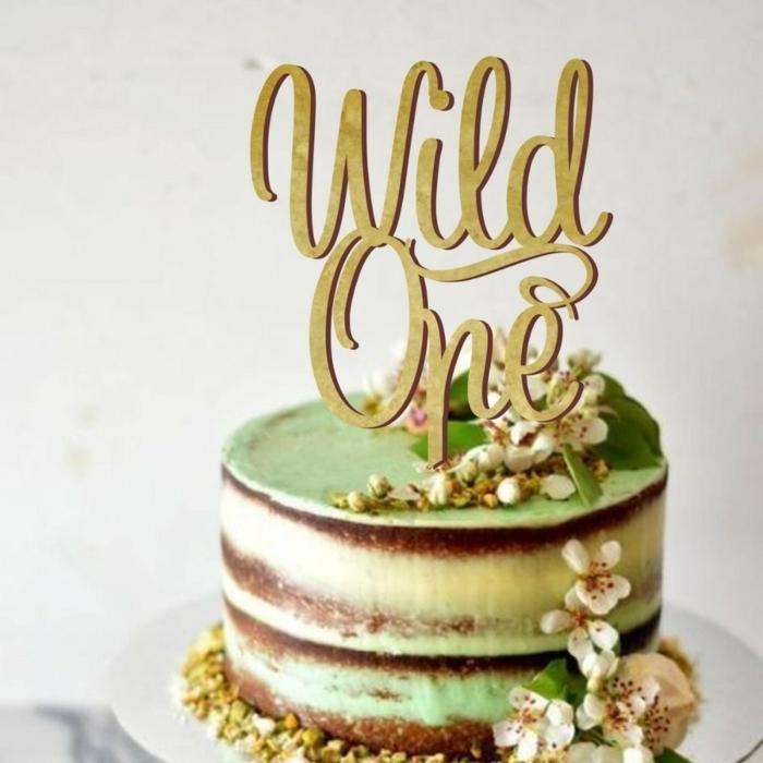 torte 1 geburtstag geburtstagskuchen dekorieren tortendeko in grün goldener topper first birthday