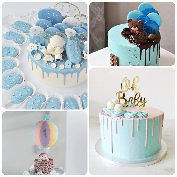 torte 1 geburtstag junge tortendeko in blau torten dekorieren ideen baby kingergeburtstagskuchen