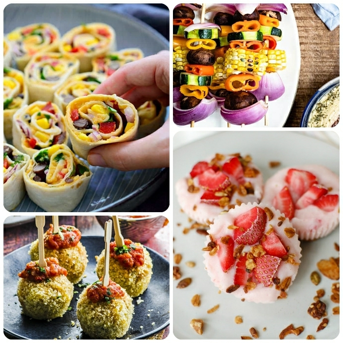 vegetarische rezepte schnell party essen ideen rollen mit gemüse frozen cupcakes gemüse spieße