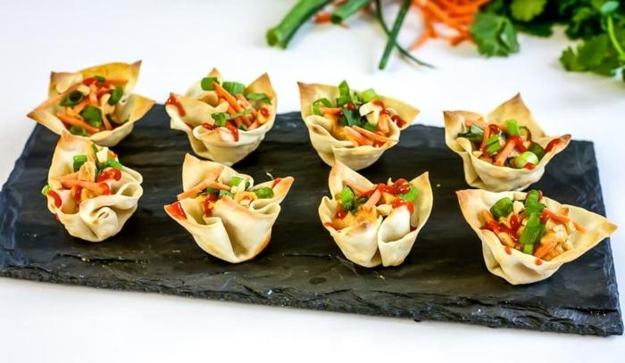 vegetarisches essen für gäste partyrezepte häppchen mit gemüse und butterteig party rezepte