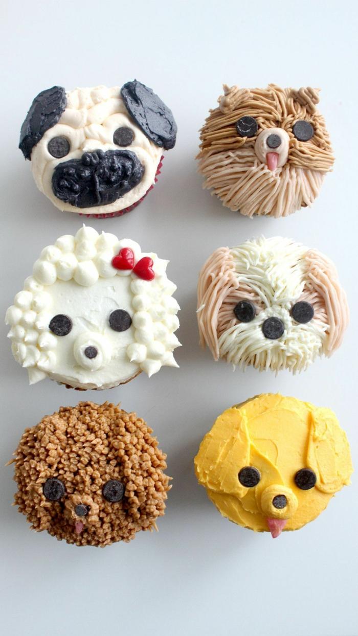 verschiedene ideen für verzieren von cupcake tiere hunde geburtstagskuchen kinder