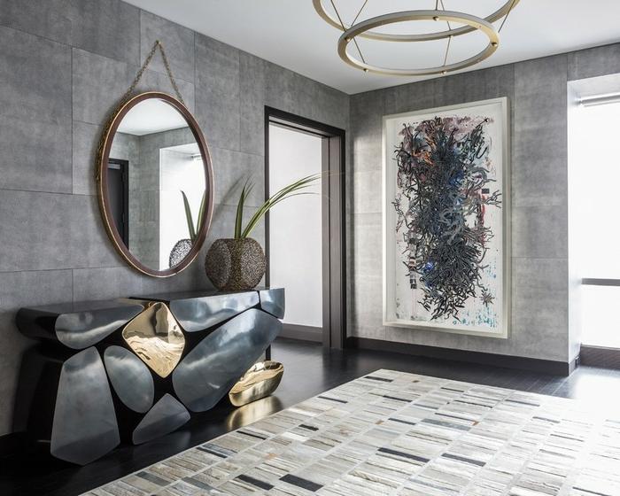 wand streichen ideen wohnung dekorieren luxuriöse flurgestaltung designer möbel großes bild graue wände