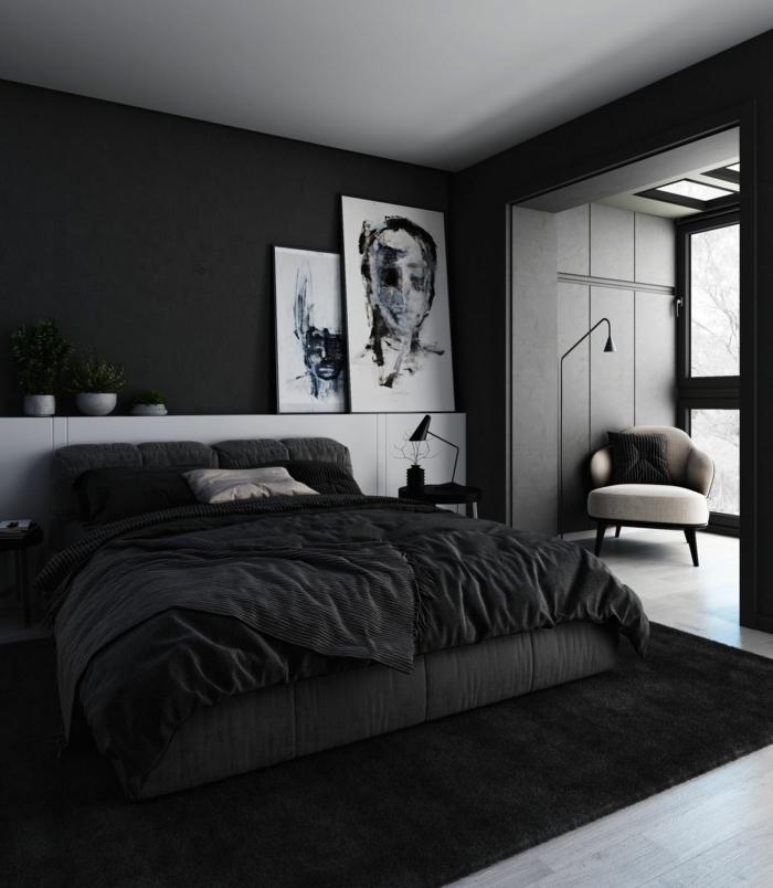 wandfarbe schlafzimmer beispiele schlazimmergestaltung in schwarz und weiß wanddeko mit bilder schwarze wände wandgestaltung mit farbe