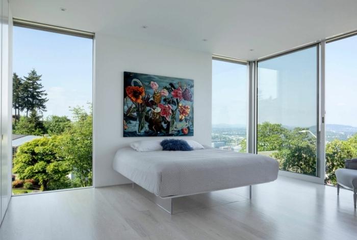 wandfarbe schlafzimmer beispiele wand streichen ideen minimalistische zimmereinrichtung zimmergestaltung in weiß