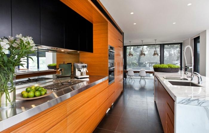 wandfarbe trend 2020 kücheneinrichtung in orange und schwarz kleine küche kpchendeko ideen designer möbel