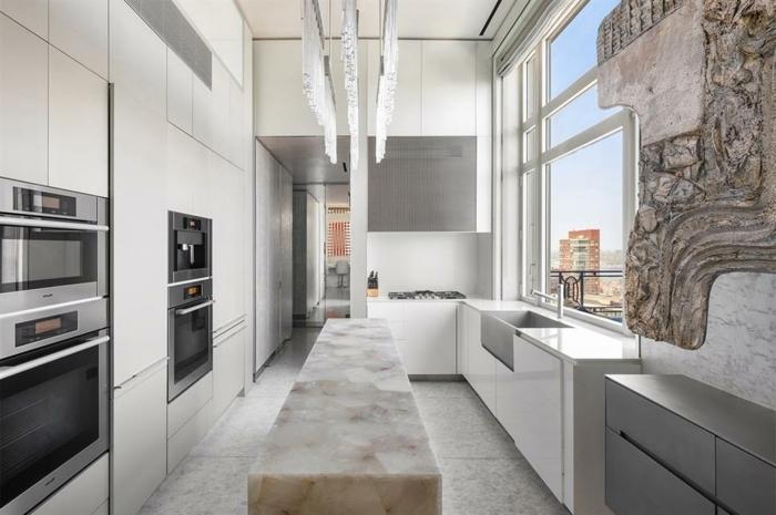 wandfarben ideen kleine küche einrichten küchendeko in weiß marmor muster wohnung einrichten