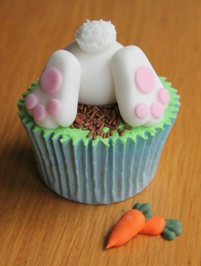 weißer hase mit pinken pfoten süße ideen cupcakes kindergeburtstag leckere kuchen party