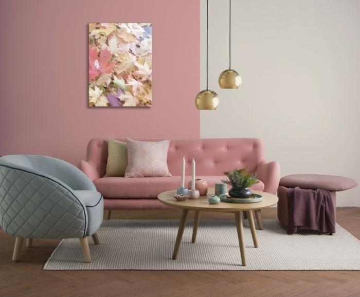 wohnzimmer streichen ideen zimmergesraltung in rosa und weiß grauer sessel feminine zimmergestaltung wandgestaltung mit farbe