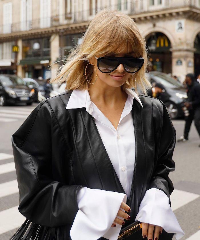 xenia adonts schwarze lederjacke weißes hemd bob frisuren 2020 mit pony street style ideen