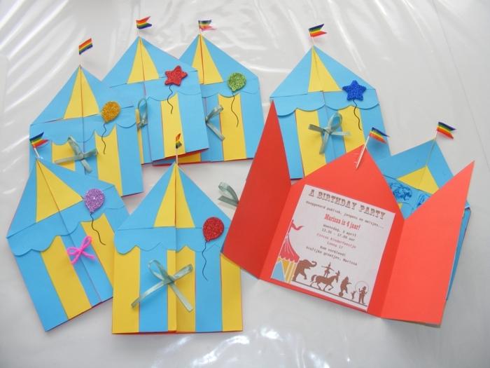 zirkusparty geburtstag kreative einladung zum kindergeburtstag kreative und originelle bastelideen zirkuszelte in gelb und blau