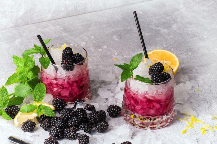 zwei gläser mit bramble cocktails cocktail rezepte gläser mit pfefferminze eis und brombeeren