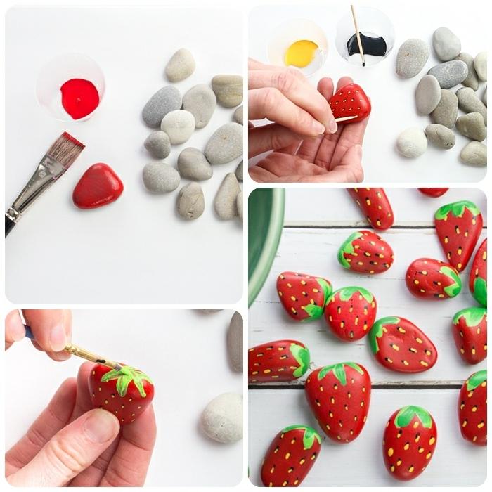 0 garten ideen selber machen steine bemalen kleine steinchen als erdbeeren dekorieren anleitung