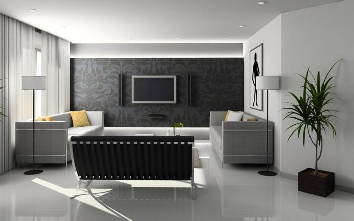 2 wanddekorationen ideen außeregewöhnliche wanddeko in grau wohnzimmer dekorieren schwarze wandtapete