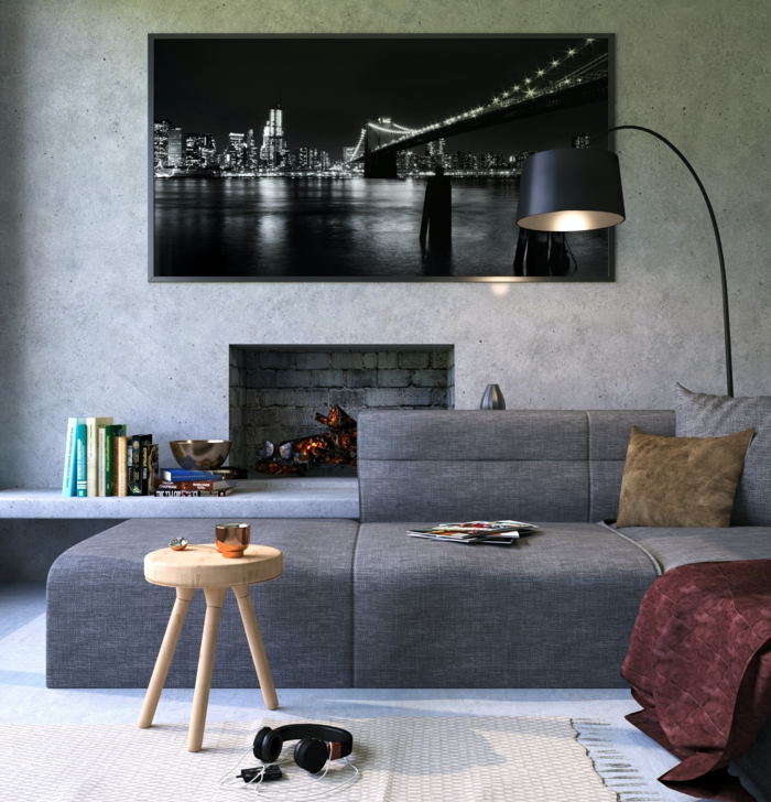 3 wanddekorationen betonwand interieur in industrial stil großes bild wohnzimmerdeko