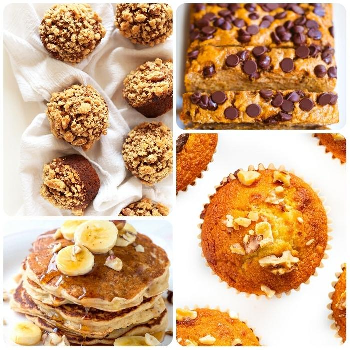 4 reife bananen verwerten nachtisch ideen brunch selber machen pfannkuchen bananenbrot mit schokoaldenchips muffins mit nüssen bananenmuffins