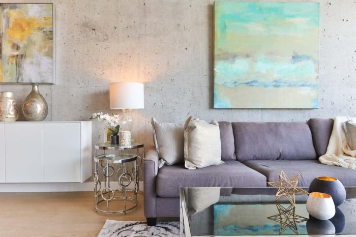 4 wanddekorationen wohnzimmer deko in industrial stil graues sofa große bilder betonwand