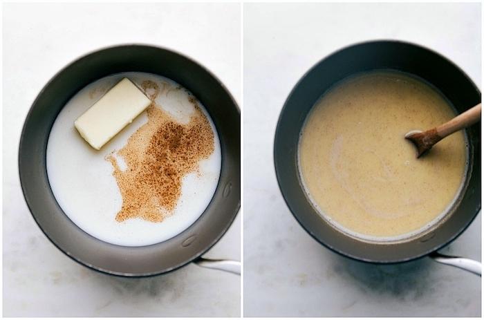 churros ein topf mit butter und zimt und löffel eine schritt für schritt anleitung für spanische churros