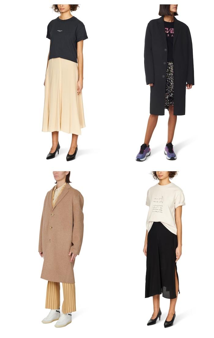 acne studios fashion schwarzer und beiger mantel t shirt mit langem:rock outfit style inspiration