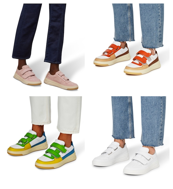 acne studios schuhe bunte weiße und pinke sneakers mit jeans outfit inspiration
