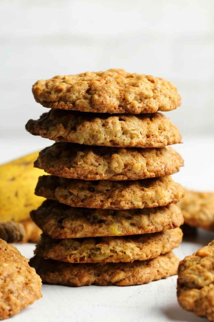 backen mit bananen gesunde vegane bananenkekse mit haferflocken haferflockenkekse kekse rezept