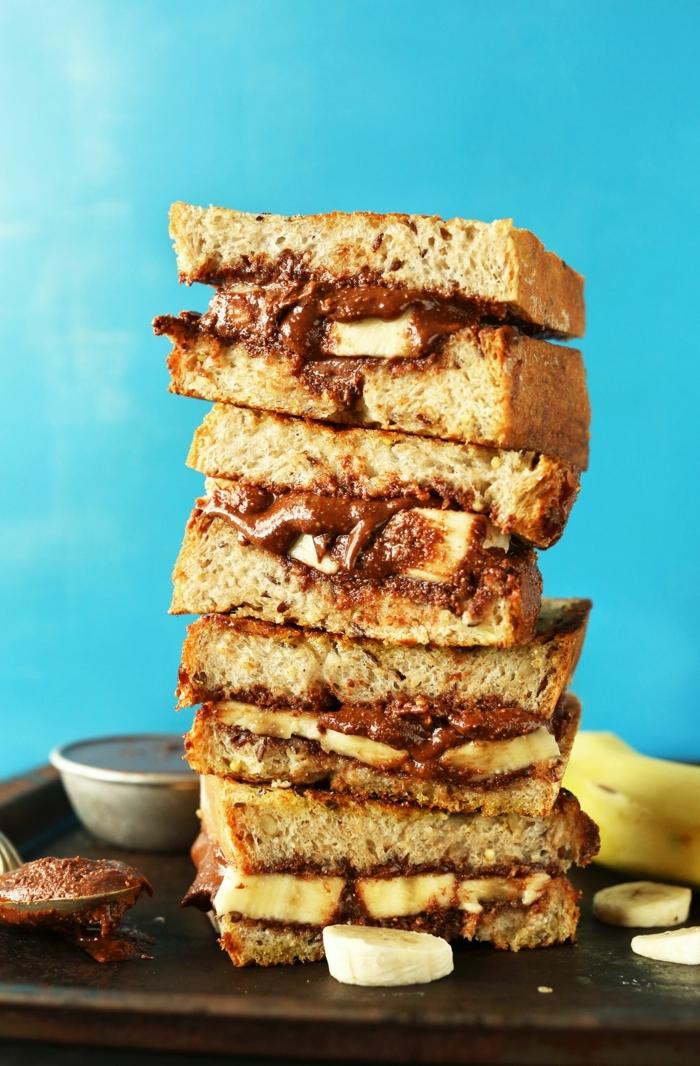 backen mit bananen nachtisch rezepte bananenkuchen mit schokolade bananensandwiches süße sandwisches