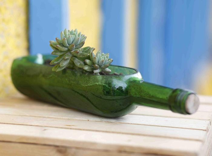 blumentopf aus einer alten grünen flasche für wein ideen für nachhatige geschenke für frauen resized