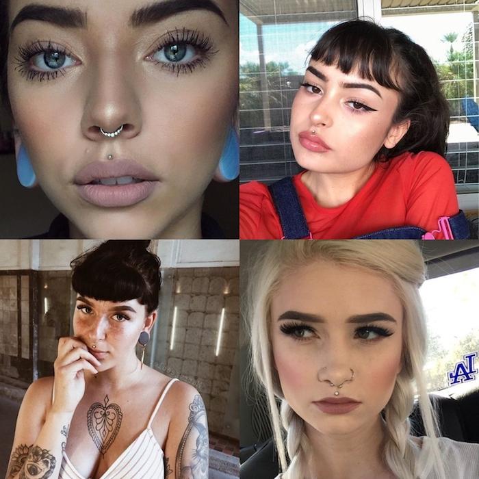 collage ideen für medusa piercing mund frau mit tattoos am körper nasenringe katzenaugen make up blonde frau mit zöpfen