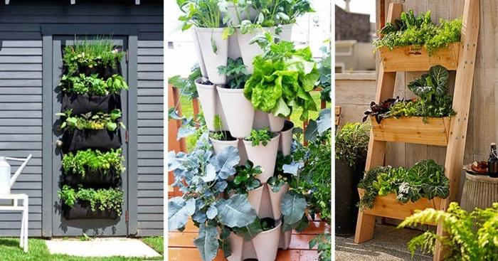 deko aus holz selber machen pflanzenwand basteln leiter diy ideen für den garten gartendeko