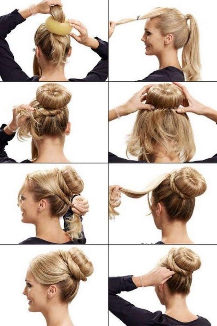 diy anleitung schritt für schritt dutt mit duttkissen elegante hochsteckfrisur mittellange blonde haare step by step dutt frisuren dünnes haar