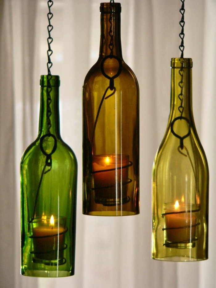 drei lampen aus alten weinflaschen upcycling glass ideen für nachhaltige geschenke für männer resized