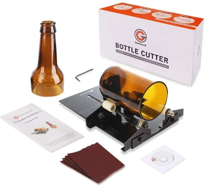 ein bottle cutter eine braune weinflasche eine geschnittene flasche nachhaltige geschenke resized