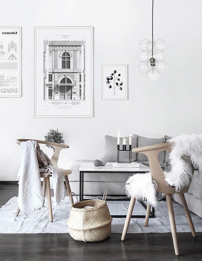 flauschige decke holzstühle moderne inneneinrichtung skandinavischer wohnstil graue und beige farben minimalistische dekoration dunkler holzboden moderne hängende lampe