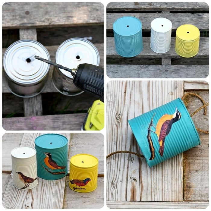 garten ideen günstig konservendosen bohren und dekorieren hängende deko für den außenbereich vögel