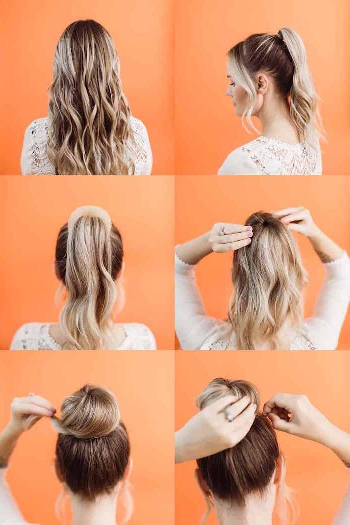 hochsteckfrisuren inspiration braune haare mit blonden strähnen dutt frisuren mit kissen schritt für schritt anleitung diy haarfrisuren