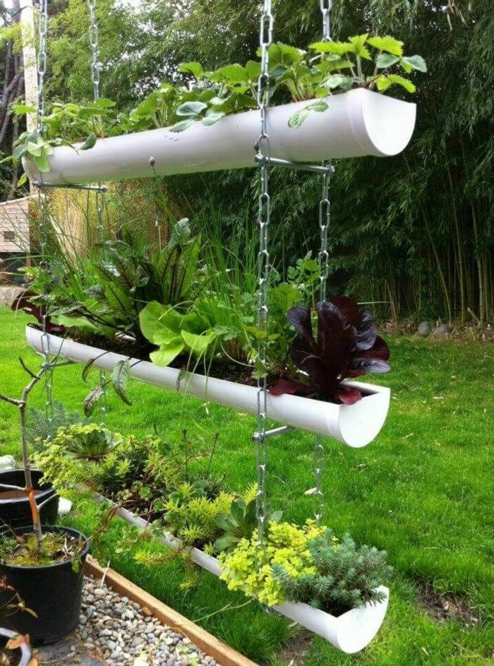 ideen für den garten gartendeko selber machen hängende dekoration vertikaler garten basteln