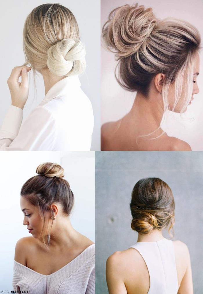 ideen für dutt frisuren blonde und braune haare frauen niedriger und hocher haarknoten collage inspiration dutt frisuren hochzeit