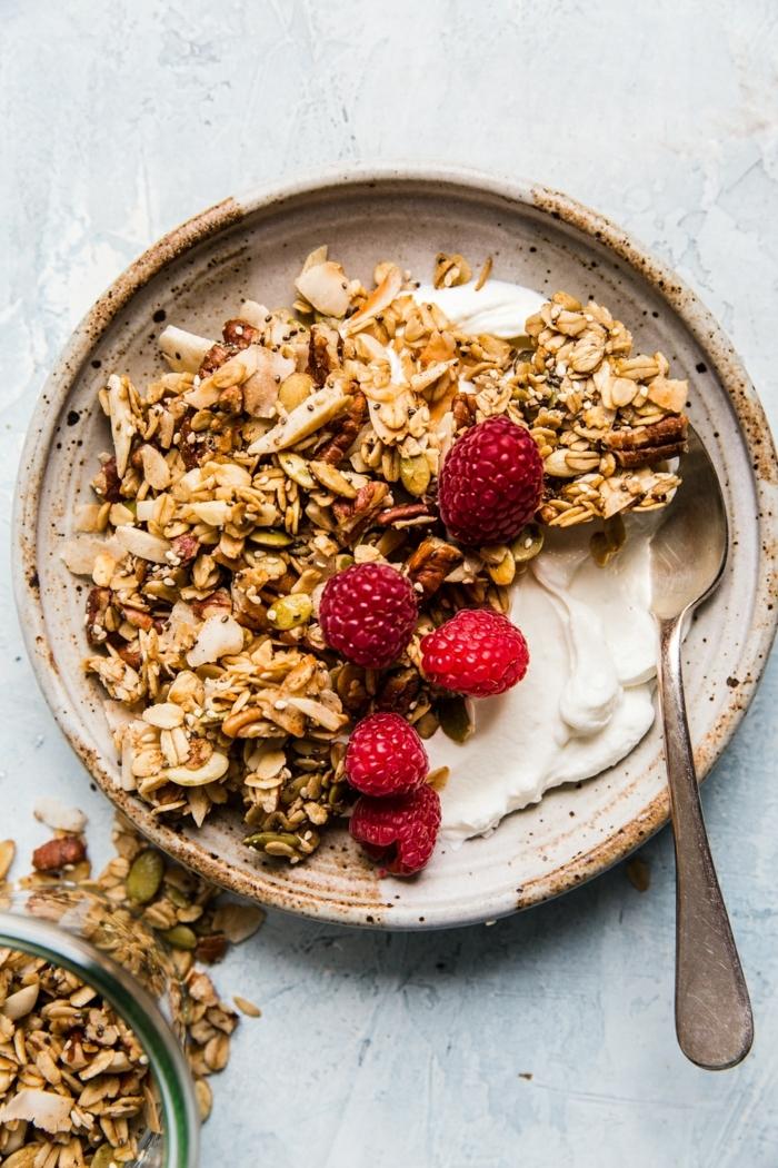 knuspermüsli selber machen gesunde rezepte zum abenehmen granola mit nüssen und honig joghurt himbeeren