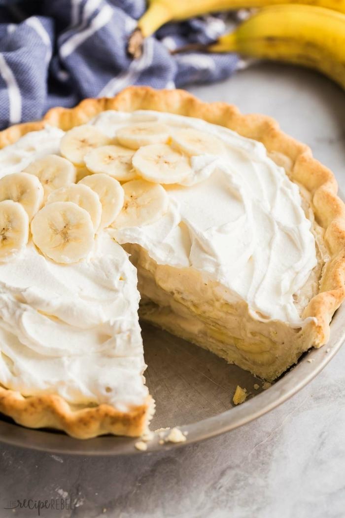 kuchen mit bananen bananenpie zubereiten pie rezepte brunch ideen dessert mit sahne