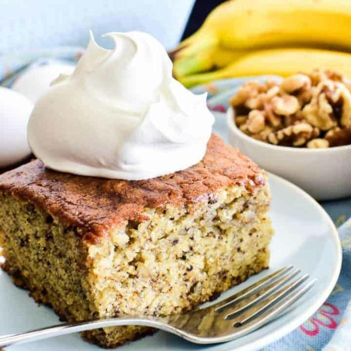 kuchne mit bananen einfach und schnell nachtisch mit nüssen walnüssen walnusskuchen bananenkuchen